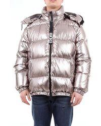 Add Short Down Jacket With Hood - Metallic