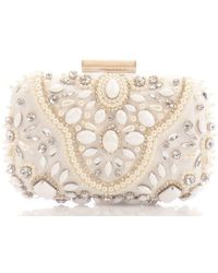 OLGA BERG Clutch Gems - White