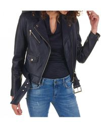 696286bed Leather Jacket - Blue