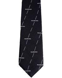 Balenciaga Diagonal Licence Print Silk Tie - Black