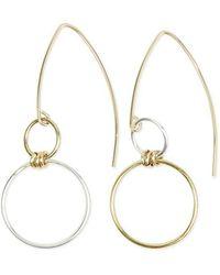 Alison Fern Jewellery Two-tone Gold Filled & Silver Faye Hook Earrings - Metallic