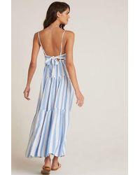 Bella Dahl Tiered Tie Back Maxi Dress In Sky Blue Stripe