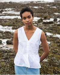 Beaumont Organic Tamsin Organic Cotton Blouse In - White