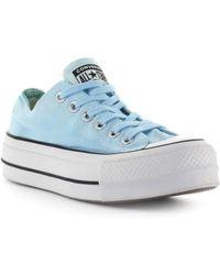 02986727bb8b Converse - All Star Chuck Taylor Ox Light Blue Platform Trainer - Lyst