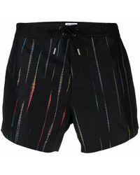 Saint Laurent Black Stripe Print Swim Shorts