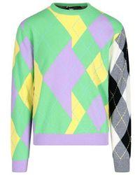 Versace - Men's A88448a2375206x090 Green Cashmere Sweater - Lyst