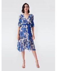 Diane von Furstenberg Liz Pleated Floral Midi Dress - Blue