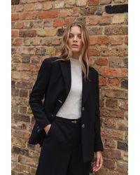 Palones Button Back Oversized Blazer - Black