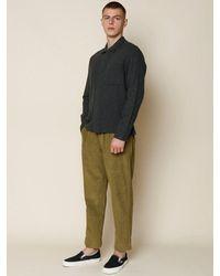 Folk Folk Patch Shirt In Stone Moss Flannel - Multicolour