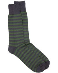 Universal Works Stripe Cotton Socks / Forest - Grey