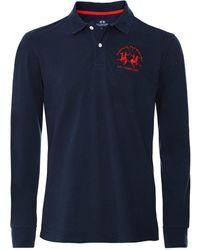 La Martina Long Sleeve Milo Polo Shirt Colour: Navy - Blue
