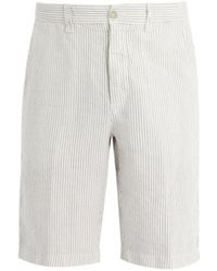120% Lino - Stripe Shorts In Natural Linen - Lyst