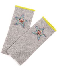 Adeela Salehjee Munich Mid Grey Fingerless Glove In Solid Colour , Style:rainbow Star