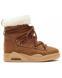 Serafini Tobacco Shearling Suede Moon Boots - Brown