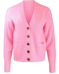 Cocoa Cashmere Stevie Rib Knit Cardigan - Pink