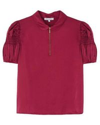 Lily and Lionel Amelia Silk Satin Top - Cranberry - Red
