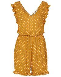 Numph Dotty Polka Dot Mustard Jumpsuit - Yellow