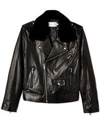 Rebecca Minkoff Leather Andrea Jacket Faux Fur Collar - Black