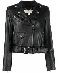 Michael Kors Women's Mb92hyg8rk001 Black Leather Outerwear Jacket
