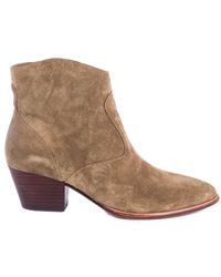 Ash Heide Bis Suede Ankle Boot - Natural