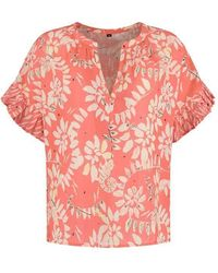 POM Amsterdam Bouncing Leaves Coral Top - Pink
