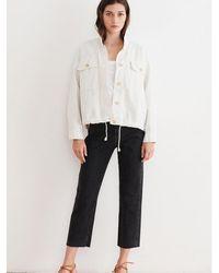 Velvet By Graham & Spencer Velvet Nicola Cotton Canvas Jacket In Sand - White