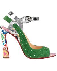 Christian Louboutin 3210521 Cma3 Colour Suede Loopinga Toe Plume Sandals - Green