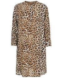 Lindsay Nicholas New York Silk Shirt Dress In Leopard - Brown