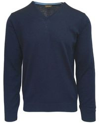 Stenströms Navy V-neck Sweater With Elbow Patches 197 Navy - Blue