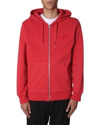 Helmut Lang Hooded Cotton Sweatshirt With Zip And Logo - Red