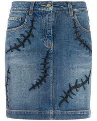 Moschino Embroidered Detail Denim Skirt - Blue