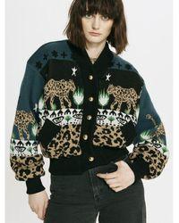 Hayley Menzies Leopard Jacquard Bomber - Black