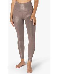 Beyond Yoga Twinkle High Waisted Midi legging - Mocha Brown-rose Gold
