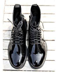 Vagabond Patent Leather Kenova Ankle Boots-black