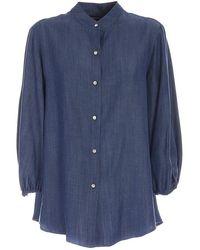 Paolo Fiorillo Capri Mandarin Collar Shirt In - Blue