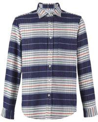 Portuguese Flannel - Bleeckers Stripe L/s Shirt Sky / Navy / Ecru - Lyst