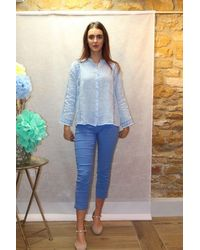 120% Lino Lace Linen Shirt In Pale - Blue