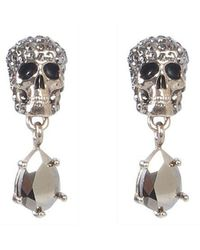 McQ Skull Earrings With Stones - Metallic
