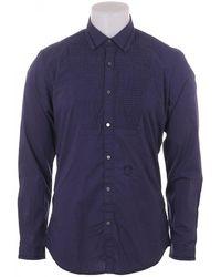 DIESEL Mens Ls Bib Front Shirt - Blue
