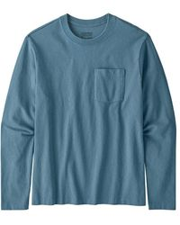 Patagonia Long Sleeved Organic Cotton Midweight Pocket Tee Pigeon Blue