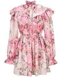MSGM Floral-print Ruffled Dress - Pink