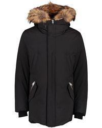 Mackage Mens Edward Mid Length Jacket With Fur Hood - Black