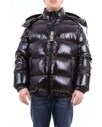 Add Short Solid Colour Down Jacket With Hood - Black