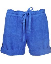 120% Lino - 120% Lino Bermuda Shorts In Elecrtic Blue - Lyst