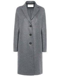 Harris Wharf London Harris Wharf Pressed Wool Overcoat - Grey Mouline