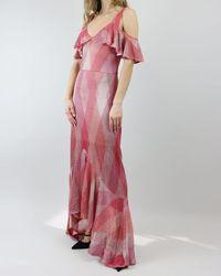 Cecilia Prado Coral Disco Ruffle Off Shoulder Dress - Pink