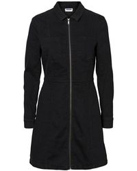 Noisy May Lisa Denim Zip Dress , - Black