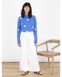 Cocoa Cashmere Azure Fable Spot Sweater - Blue