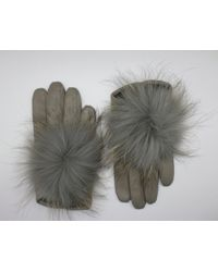 Maison Fabre Leather Gloves With Fur Pompom - Gray