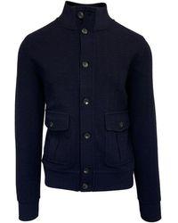 Circolo 1901 1901 Navy Knitted Wool Blouson - Blue